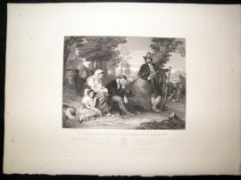 After C.L Eastlake C1840 LG Folio Print. A Contadina Family-Prisoners with Banditti